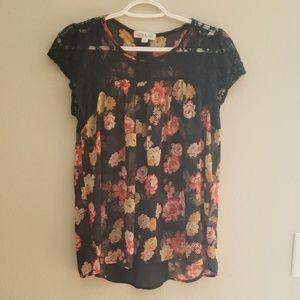 Beautiful floral semi-sheer blouse